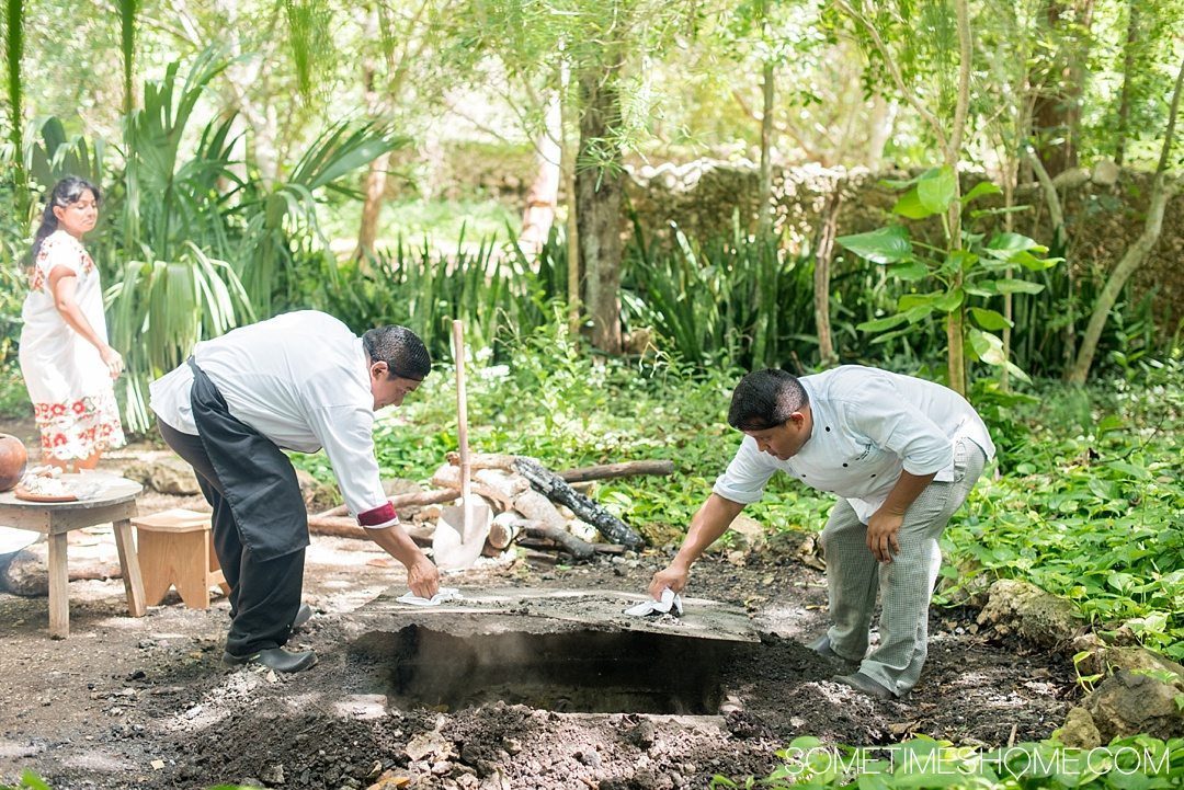 6 Unique Foods to Try in the Yucatan Peninsula on Sometimes Home travel blog. Photos of Cochinita Pibil, buried and cooked pork for 5 hours underground.