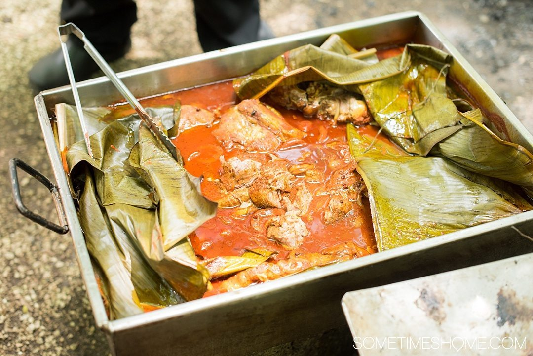 6 Unique Foods to Try in the Yucatan Peninsula on Sometimes Home travel blog. Photos of Cochinita Pibil, buried and cooked marinated pork for 5 hours underground in banana leaves.