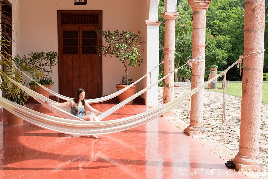 Hacienda Temozon Review and Photos on Sometimes Home travel blog. Pictures of the Starwood brand resort guest available hammocks.