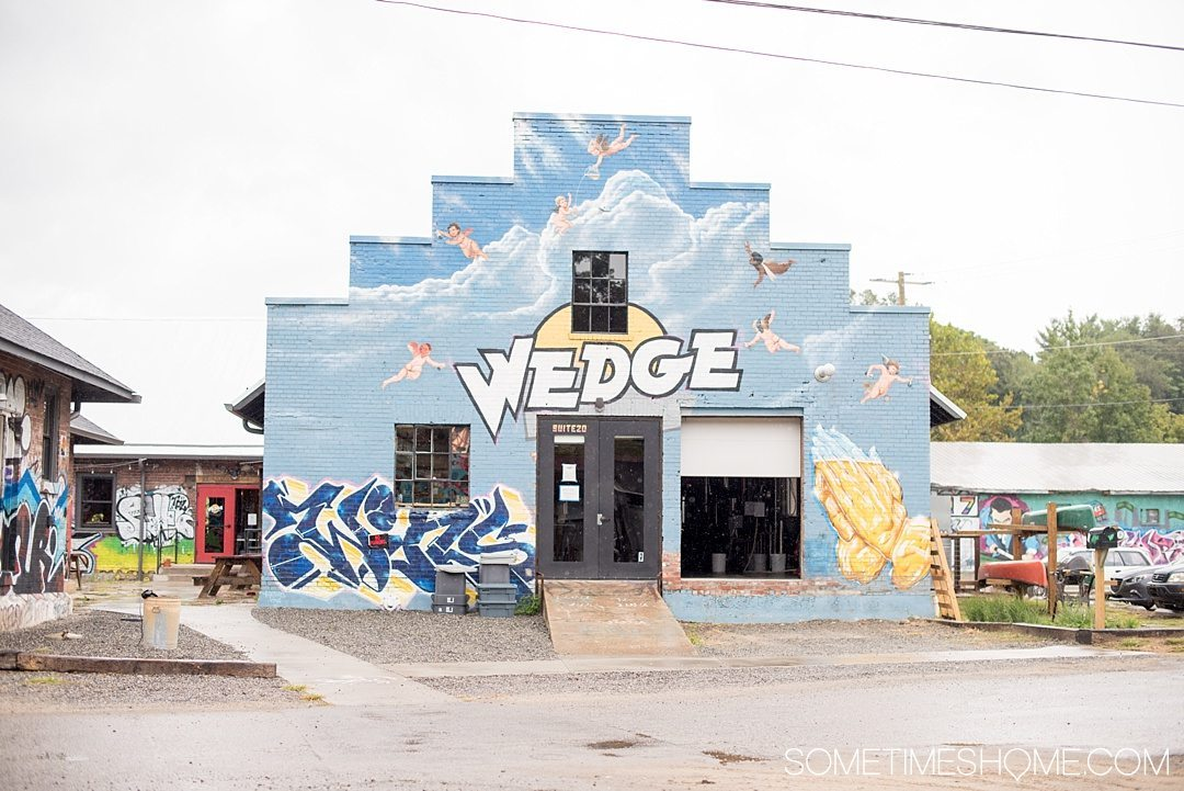 Where to find beer and art in Asheville North Carolina. Photos and locations on Sometimes Home travel blog, including Wedge Brewery in the River Arts District.