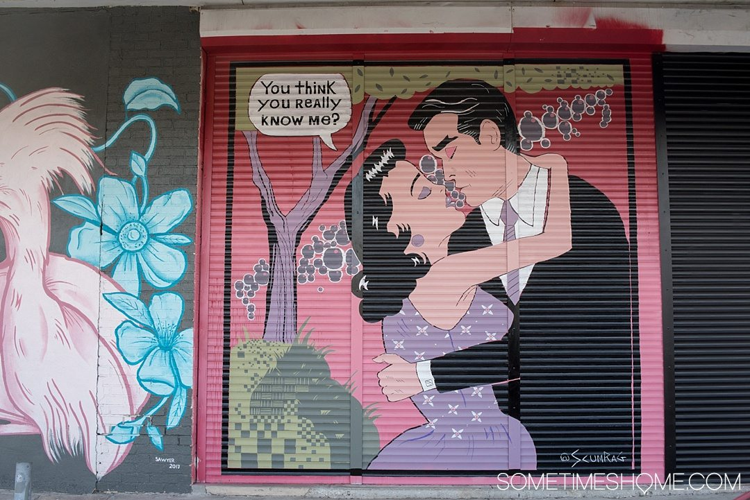 Photography of murals in the city of Tampa Bay, Florida. This is a free activity to partake in and is mostly located in the downtown neighborhood called The Heights. Embark on an adventure to take Instagram worthy pictures as we share where to find the best graffiti art of its kind, like this romantic retro couple! Click through to read which inspired us most and exactly where they're located. #TampaBay #TampaFlorida #StreetArt #Murals #Graffiti