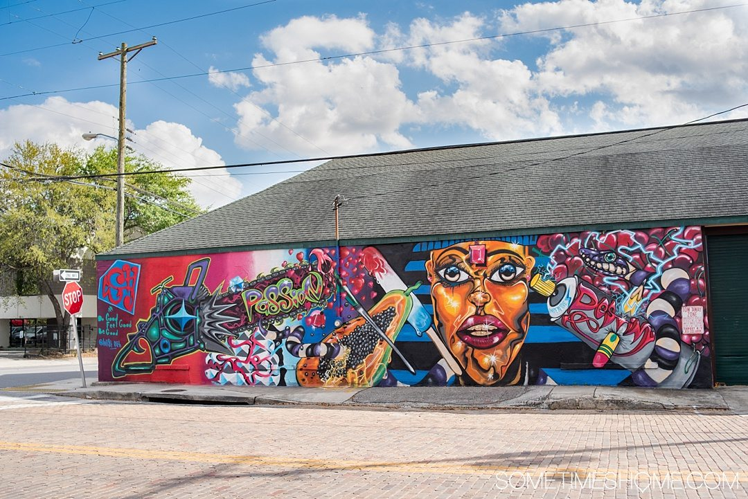 Photography of murals in the city of Tampa Bay, Florida. This is a free activity to partake in and is mostly located in the downtown neighborhood called The Heights. Embark on an adventure to take Instagram worthy pictures as we share where to find the best graffiti art of its kind, including this colorful wall (perfect for engagement photos too). Click through to read which inspired us most and exactly where they're located. #TampaBay #TampaFlorida #StreetArt #Murals #Graffiti