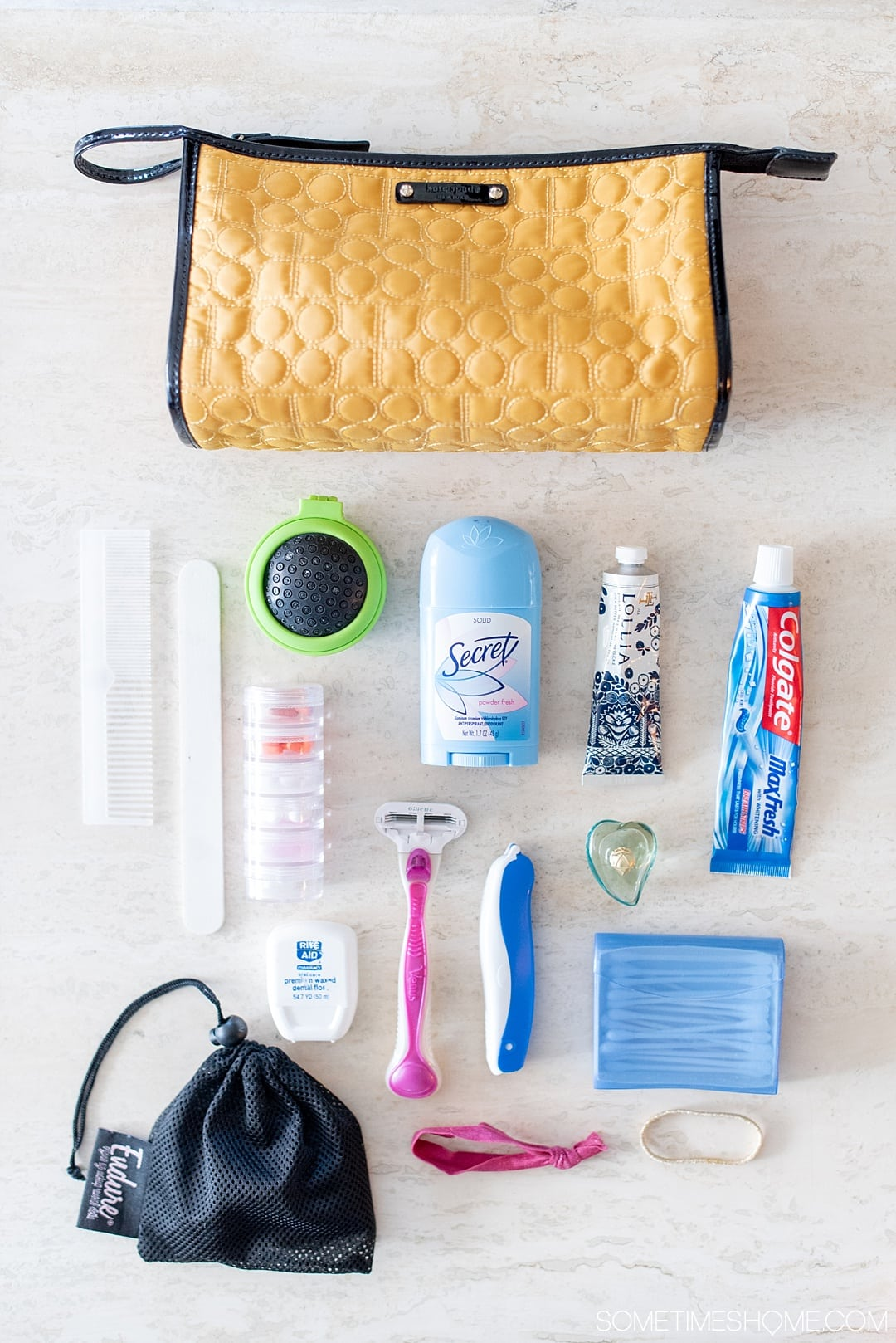Packing tips for travel planning your checking your luggage when flying or carrying on the airplane. Your suitcase will be ready to go in an instant with this time-saving trick! Click through to Sometimes Home to read the extensive post with photos of the toiletries, organic reusable makeup remover cloth, and more. #travelplanning #packingtips #travel #luggage #suitcase #makeup #organic #makeupremover #makeupcloth #sustainabletravel #sp #endurelash