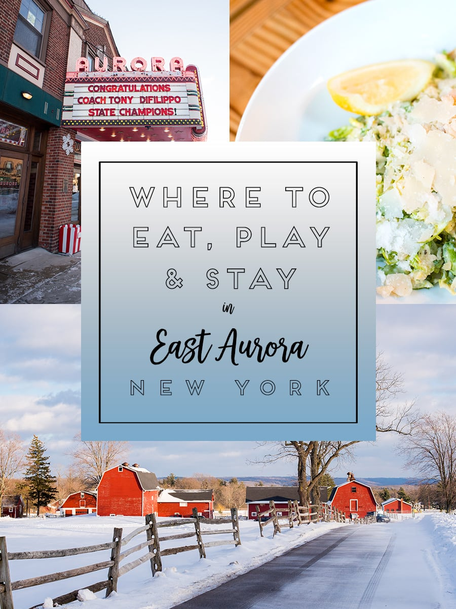 Photos of East Aurora New York will inspire you to visit this town. It's 20 miles outside of Buffalo, NY and is filled with great food, things to do and photography spots, whether along it's Americana Main Street or in the surrounding area. Click through for more on where to eat, play and stay! #TravelBUF #VisitBuffalo #EastAuroraNY #EastAurora #EastAuroraNY #BuffaloNiagara #ArtsandCraftsMovement