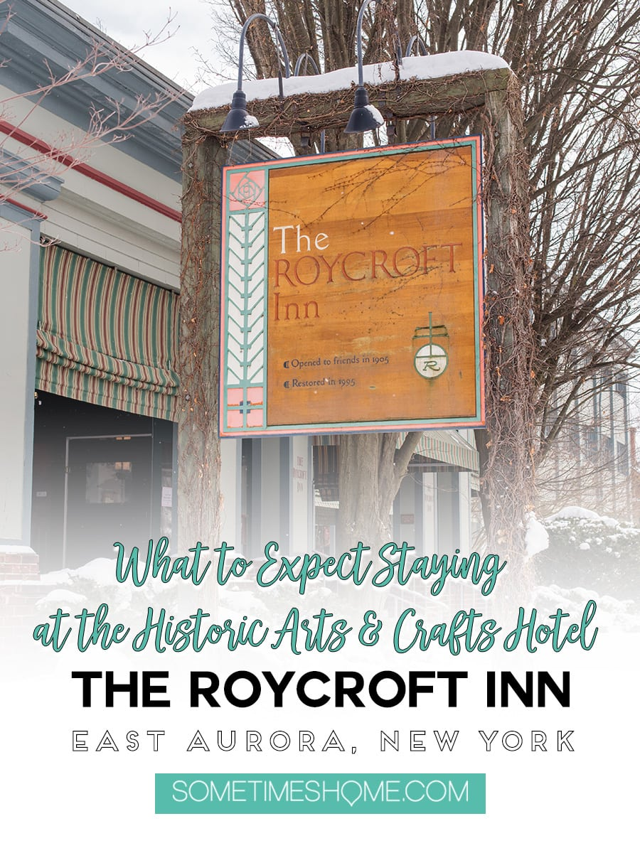 Review of the Roycroft Inn in East Aurora New York, part of the historic Arts and Crafts movement. This beautiful hotel could be a home away from home for the weekend! It's located just about thirty minutes from Buffalo in western NY. Stay a few nights and admire its design, restaurants and museum. Click through for photographs and info you need to know before you go on Sometimes Home. #RoycroftInn #EastAuroraNY #EastAurora #WesternNY #BuffaloNY #BuffaloNewYork #Buffalo #SometimesHome