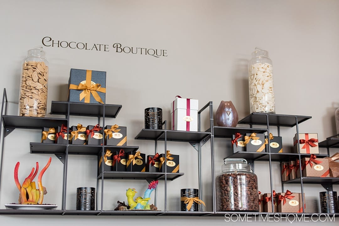 Looking for things to do in Leesburg, Virginia and Loudoun County? We have a chocolate restaurant worth the drive no matter how near or far you live from VA. The food and dessert photography will make you want to lick the computer screen! Click through for thorough info and descriptions of this scrumptious place! #visitloudoun #VIsitVirginia #ChocolateRestaurant #SometimesHome #LoudounCounty #Virginia #themedentertainment #themedrestaurant #chocolatelovers #chocolate #chocolateboutique #artisanchocolates