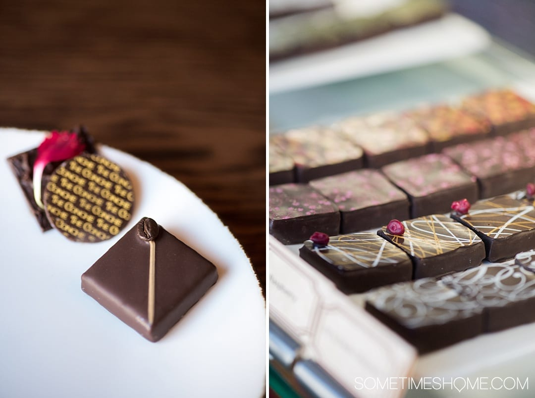 Looking for things to do in Leesburg, Virginia and Loudoun County? We have a chocolate restaurant worth the drive no matter how near or far you live from VA. The food and dessert photography will make you want to lick the computer screen! Click through for thorough info and descriptions of this scrumptious place! #visitloudoun #VIsitVirginia #ChocolateRestaurant #SometimesHome #LoudounCounty #Virginia #themedentertainment #themedrestaurant #chocolatelovers #chocolate #desserts
