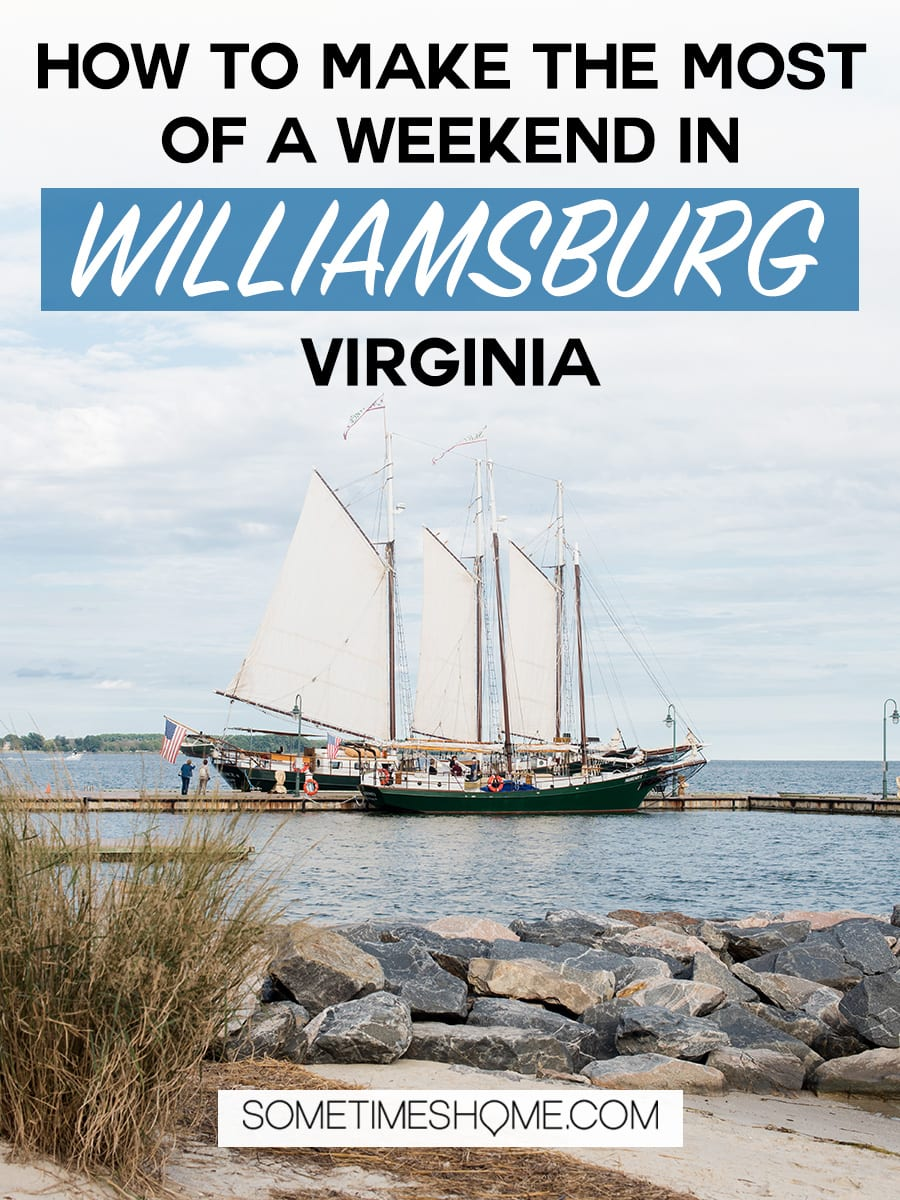 Things to do in weekend in Williamsburg, Virginia to make the most of your vacation. We have the scoop on restaurants for food, wineries and breweries for drinks, a place to stay, Busch Gardens must-read tips, a romantic sail on a historic river + pictures to go with it all! We visited as a couple and know a thing or two about this wonderful town! Click through for the details! #BuschGardens #HistoricJamestowne #AmericanRevolution #Williamsburg #Yorktown
