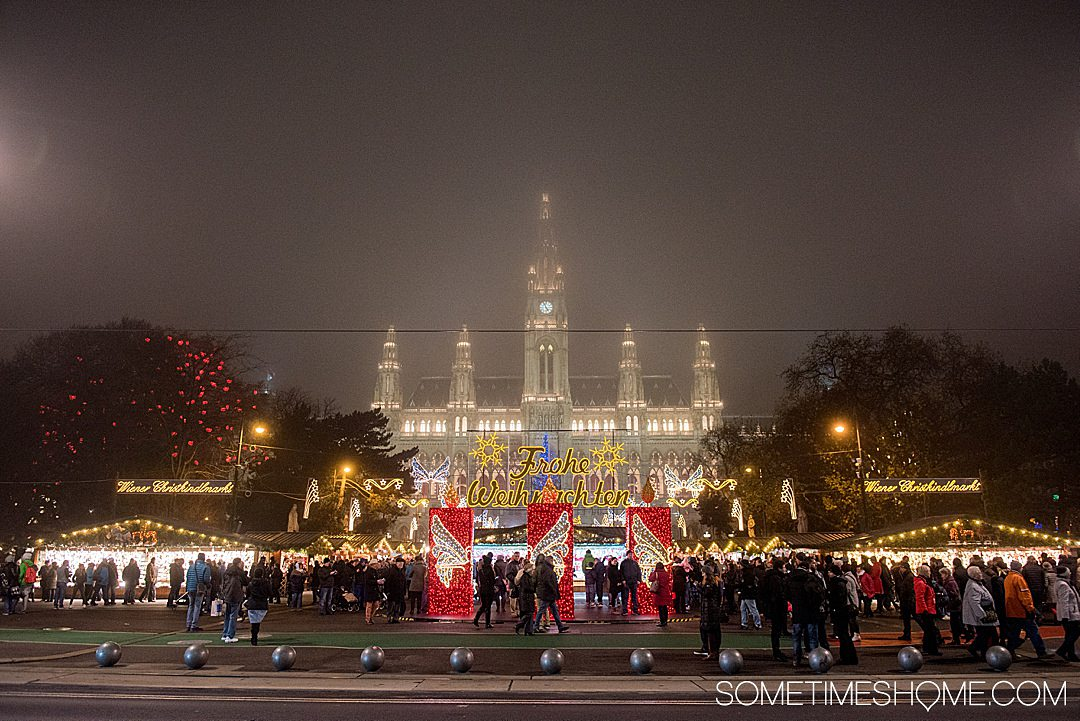Danube Viking Christmas River Cruise photos with holiday markets in Vienna, Austria on a misty evening. The dazzling lights kept everyone warm. Click through for the entire cruise itinerary. #RiverCruise #ChristmasRiverCruise #SometimesHome