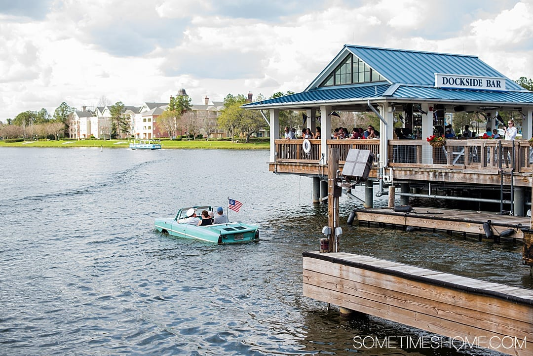 Fun things to do for adults at Walt Disney World besides parks. These ideas include things that don't require admission tickets, like Disney Springs Amphicars at The Boathouse that travel on land and sea. Your Florida trip vacation planning inspiration will expand with these tips especially if you're on a budget or want a day away from Epcot, the Magic Kingdom, Animal Kingdom or Hollywood Studios. #DisneyWorldPlanning #DisneyVacation #SometimesHome #WaltDisneyWorld #WaltDisneyWorldforAdults