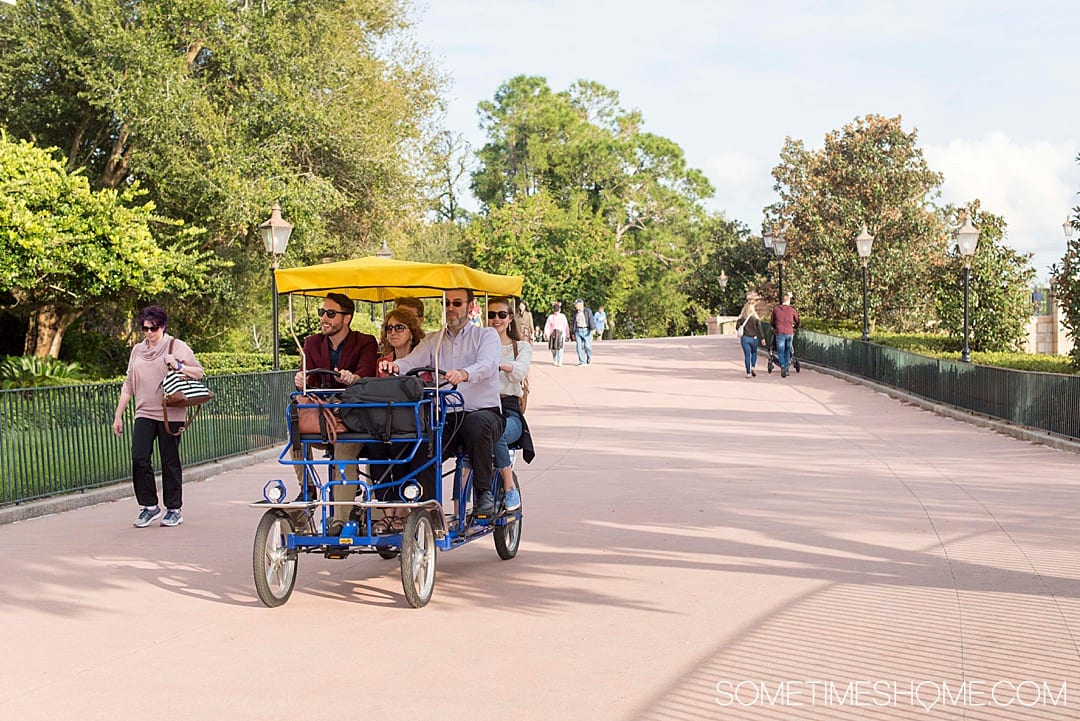Romantic things to do for adults at Walt Disney World. These ideas include things that don't require admission tickets, from restaurants and mini golf, to the Boardwalk games and Surrey wicker bike rentals. Your Florida trip vacation planning inspiration will expand with these tips especially if you want a day away from Epcot, the Magic Kingdom, Animal Kingdom or Hollywood Studios. #DisneyWorldPlanning #DisneyVacation #SometimesHome #WaltDisneyWorld #WaltDisneyWorldforAdults