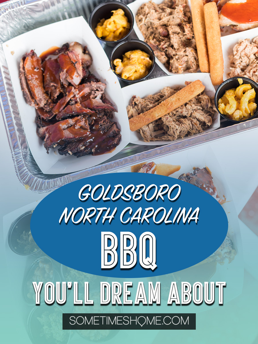 Barbecue in Goldsboro NC you cannot miss. NC BBQ is a force to be reckoned with! The eastern vinegar based sauce of barbecue in this United States region can be sampled at a variety of restaurants, on pork, chicken, turkey or more. These restaurants have rubs to delight your taste too. Check out our article about the best places to try these southern delicacy recipes on delicious meats. #NCBBQ #barbecue #BBQ #northcarolina #GoldsboroNC #sometimeshome #vinegarBBQ