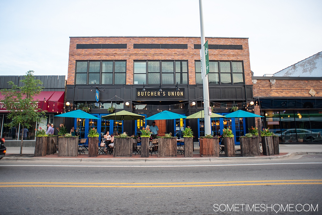 Restaurants in downtown Grand Rapids on Sometimes Home travel blog. One of the best things to do in this Michigan city is eat! The food in several neighborhoods, from east to westside, are full of vegetables and fresh meat and fish options, and farm to table ideas. See photography of beautiful and delicious dishes (including Instagram worthy desserts) and pictures of restaurant interiors and exteriors. #GrandRapids #Michigan #Foodies #restaurants #SometimesHome #Steakhouse