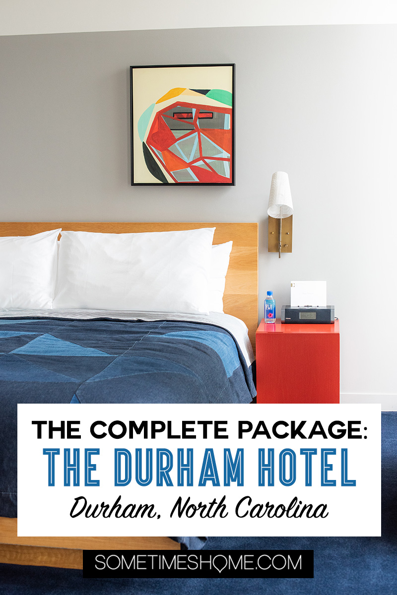 Downtown Durham, NC hotel decorated in Mid-Century Modern style. Check out photography of The Durham Hotel, the complete package. With a restaurant with James Beard Award Winning Chef, Rooftop Yoga with views of the skyline and great nightlife and cocktails. It's 30 minutes from Raleigh and a great staycation weekend getaway option too. #SometimesHome #MidCenturyModernHotel #RooftopBar #DowntownSkyline #DurhamNC #DurhamNorthCarolina