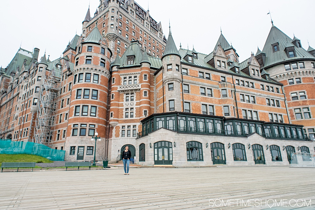 Things to do and see in Quebec City in 24 hour including where to stay at a beautiful hotel called Chateau Frontenac, great photography spots and beautiful gardens. If you're traveling to Canada you definitely want to stop in this European inspired, French founded city and UNESCO World Heritage Site to take great photos and learn about its history. #QuebecCity #ChateauFrontenac #Quebec #Canada #SometimesHome