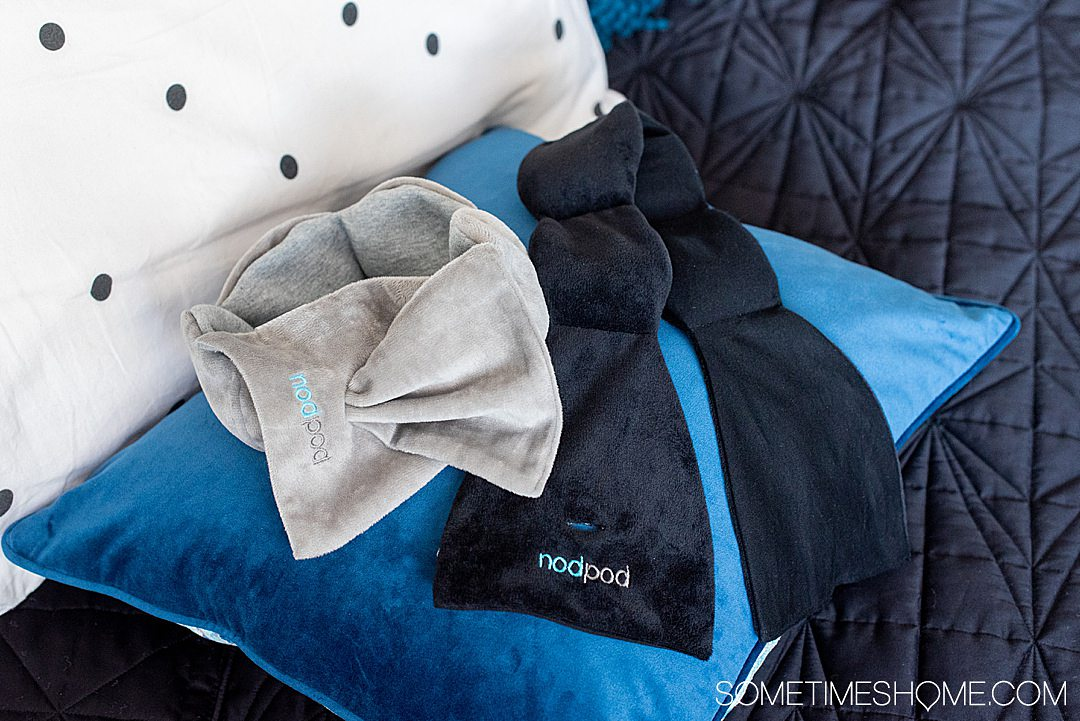 NodPod luxury sleep mask to block the sun for night shift workers and avid travelers. It's weighted and washable and affordable. Check out this and more travel gifts for travel lovers on Sometimes Home.