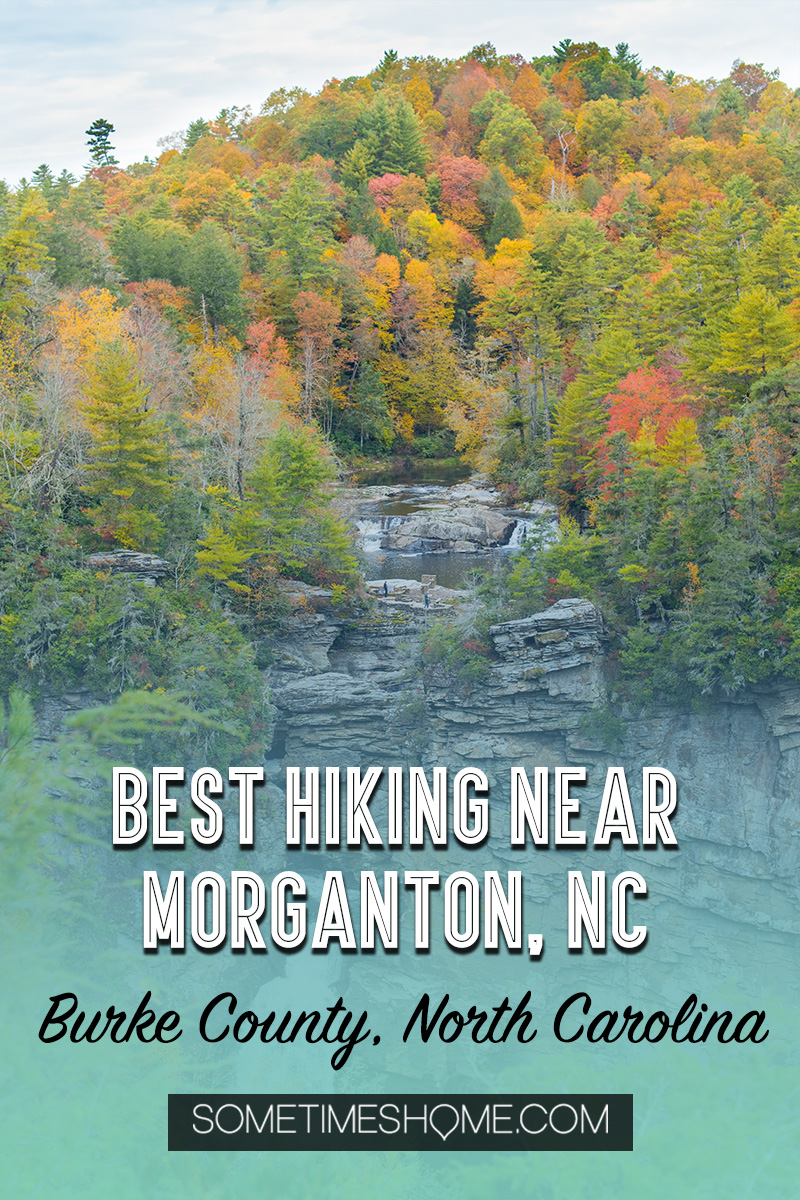 One of the best things to do in the North Carolina mountains is hike! And we have your guide to the best hiking near Morganton, NC in Burke County near the Blue Ridge Mountains. Fall colors were at their peak in the Appalachian Mountains range at the time we took this beautiful photography. #sometimeshome #besthikingnorthcarolina #autumncolors #peakfallleaves #blueridgemountains