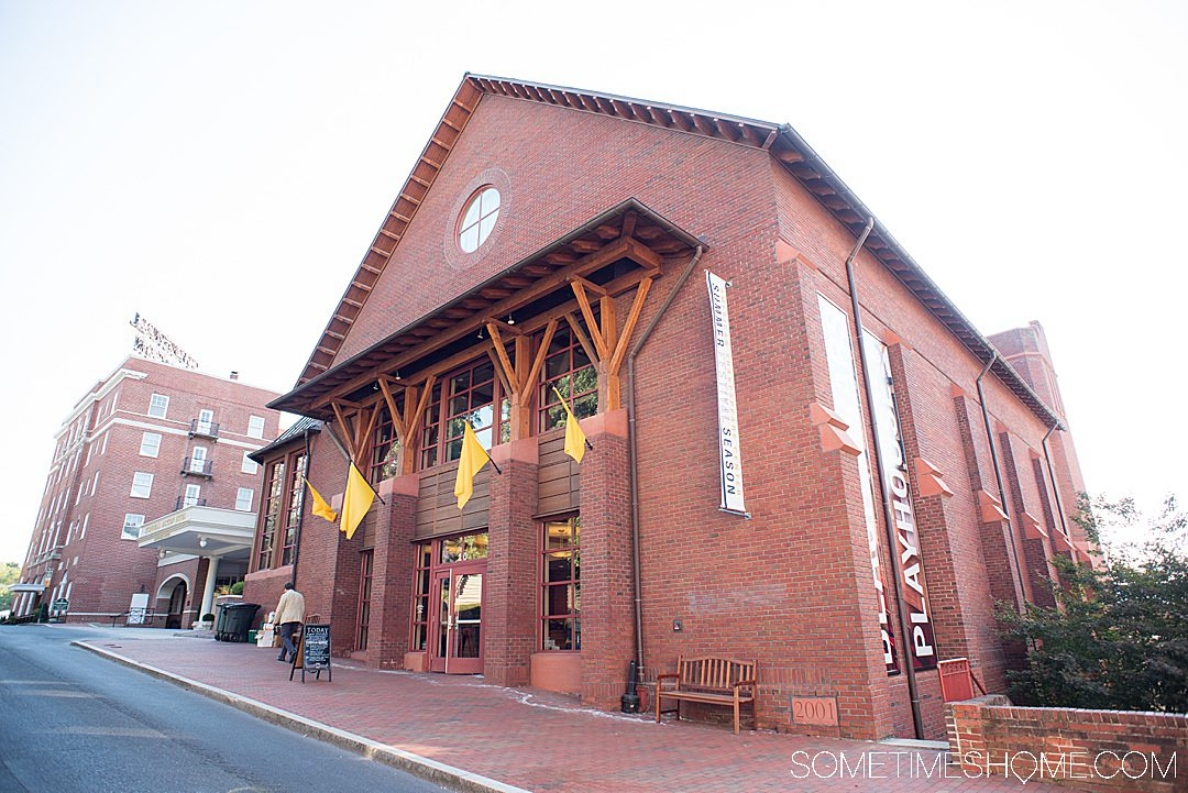 American Shakespeare Center's Blackfriars Playhouse red brick facade in Staunton, Virginia.