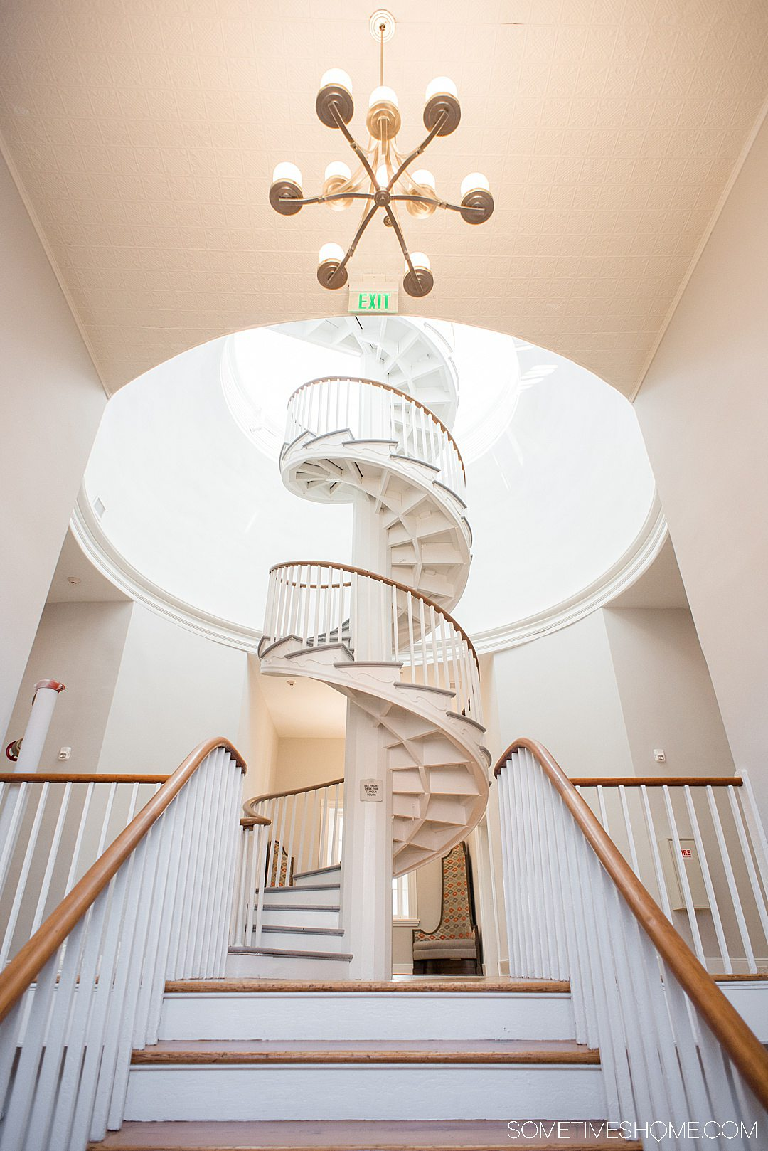 Blackburn Inn luxury boutique hotel spiral staircase in Staunton, Virginia.