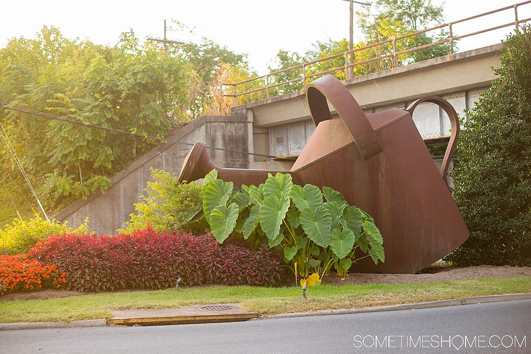 Steel watering can sculpture in Staunton, Virginia.