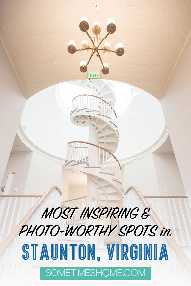 Pinterest image for the Blackburn Inn luxury boutique hotel spiral staircase in Staunton, Virginia.