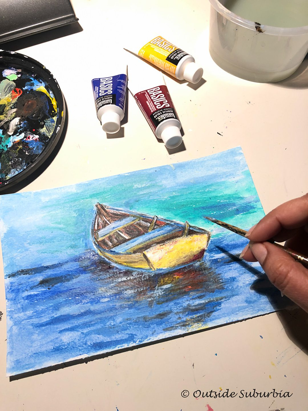 Painting of a boat in water.