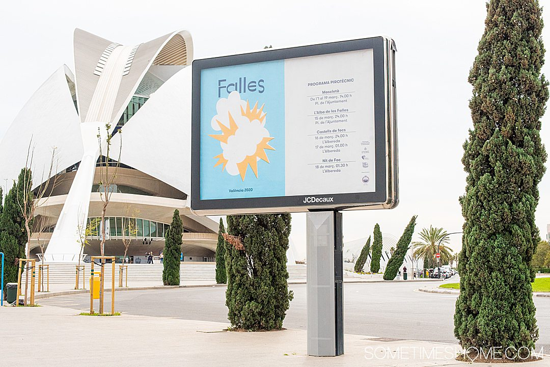 Falles Festival billboard in Valencia in 2020 by the City of Arts and Sciences showing the events in March.