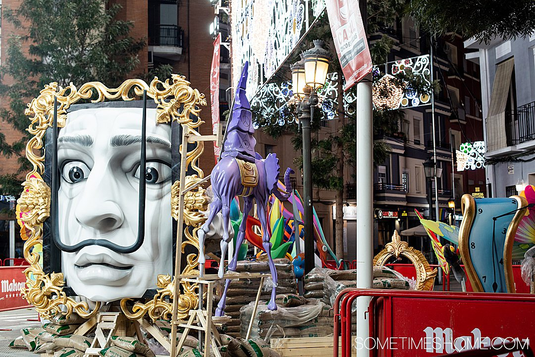 One of the Dali themed Fallas monuments being built in a neighborhood of Valencia.