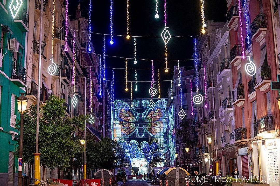The night lights in the Russafa neighborhood of Valencia for Fallas.