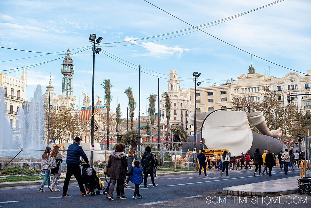 The main square of Valencia during Fallas with the main sculpture monument being constructed.