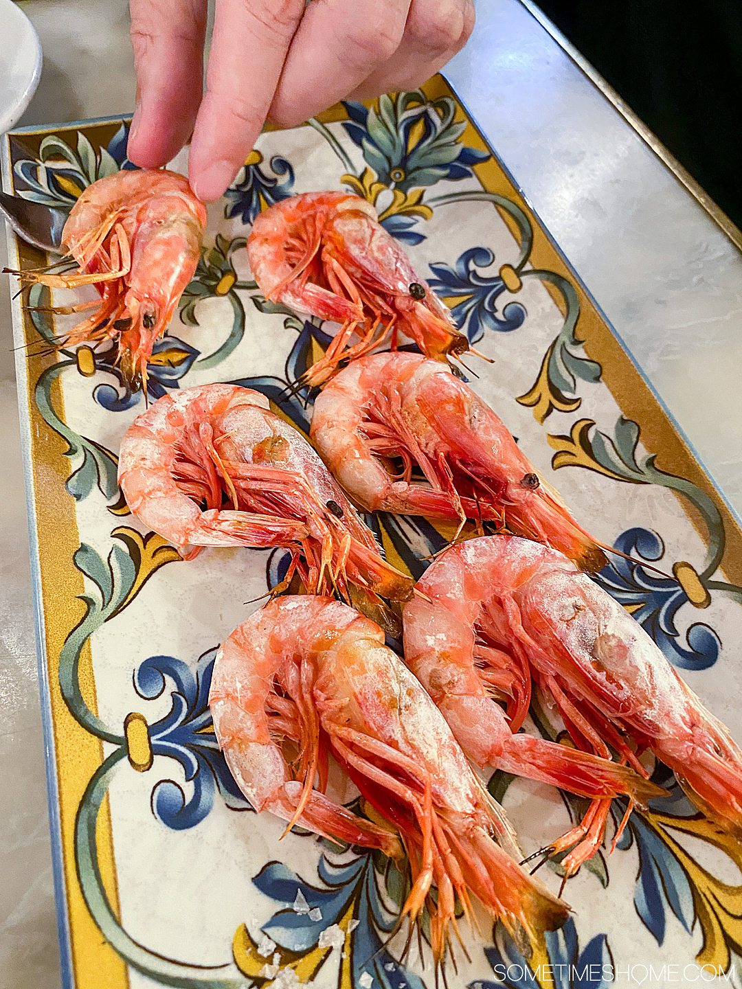 cooked prawns in shell on a plate in Barcelona