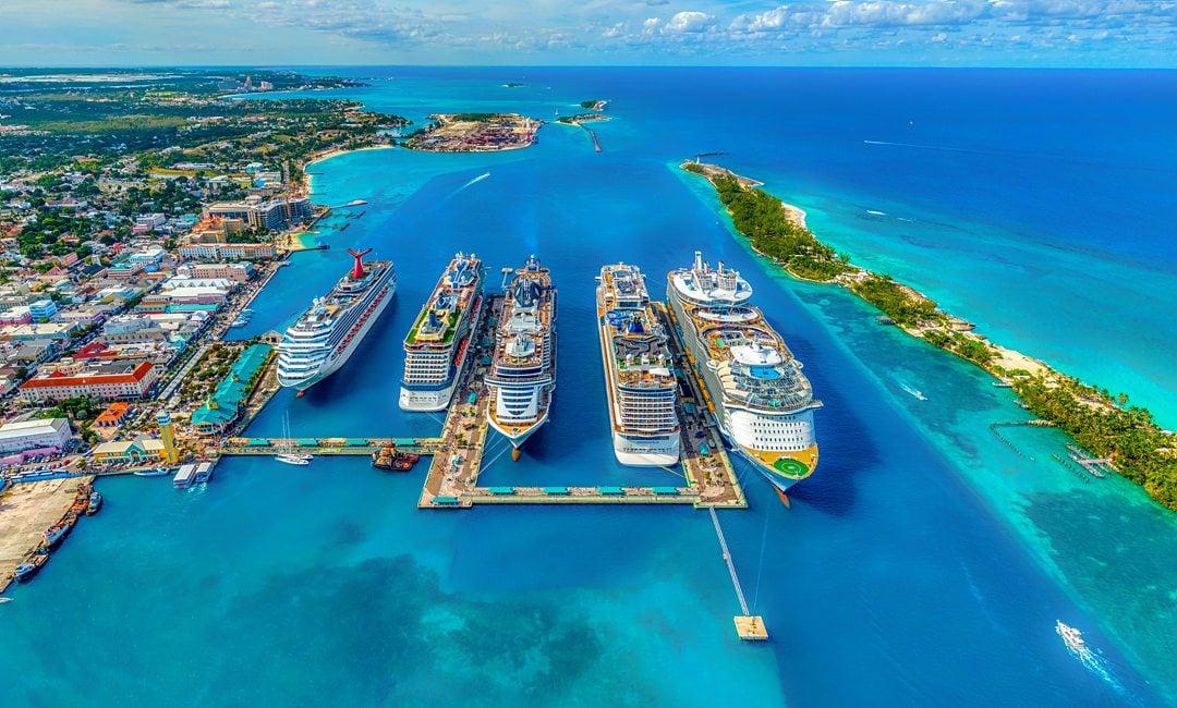 Ocean cruise ships aerial view