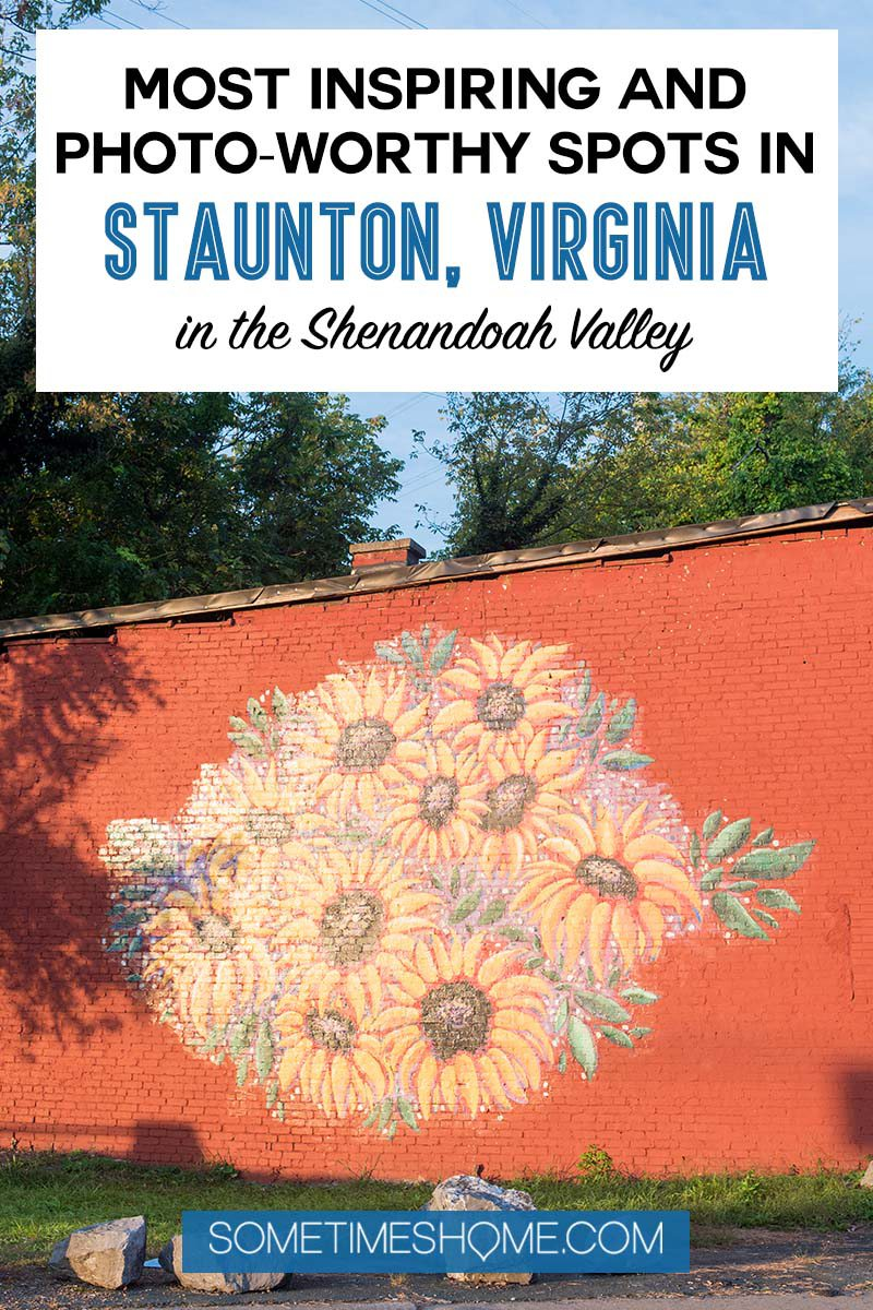 Pinterest image for a sunflower mural in Staunton, Virginia.