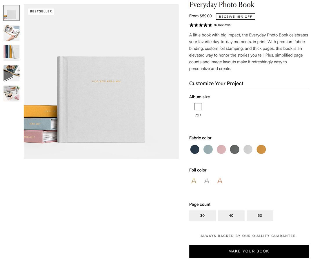 Screenshot of the Artifact Uprising Everyday Layflat Album book on a Sometimes Home post about high quality photo books.