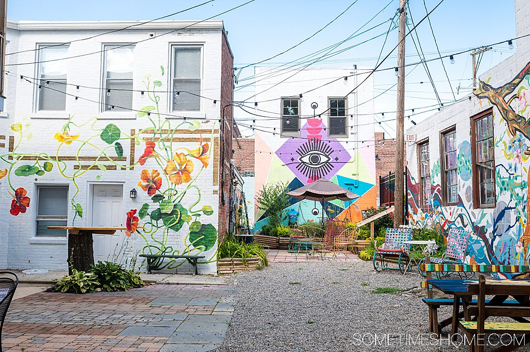 Murals in a courtyard in York, PA