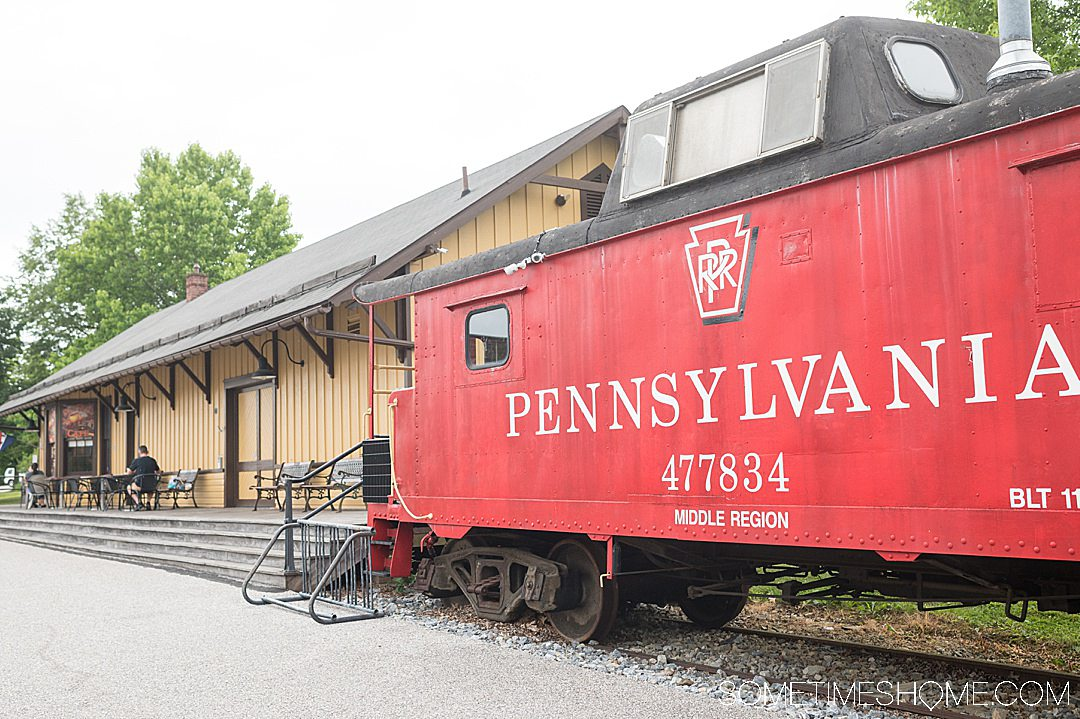 Red Pennsylvania railroad train car.