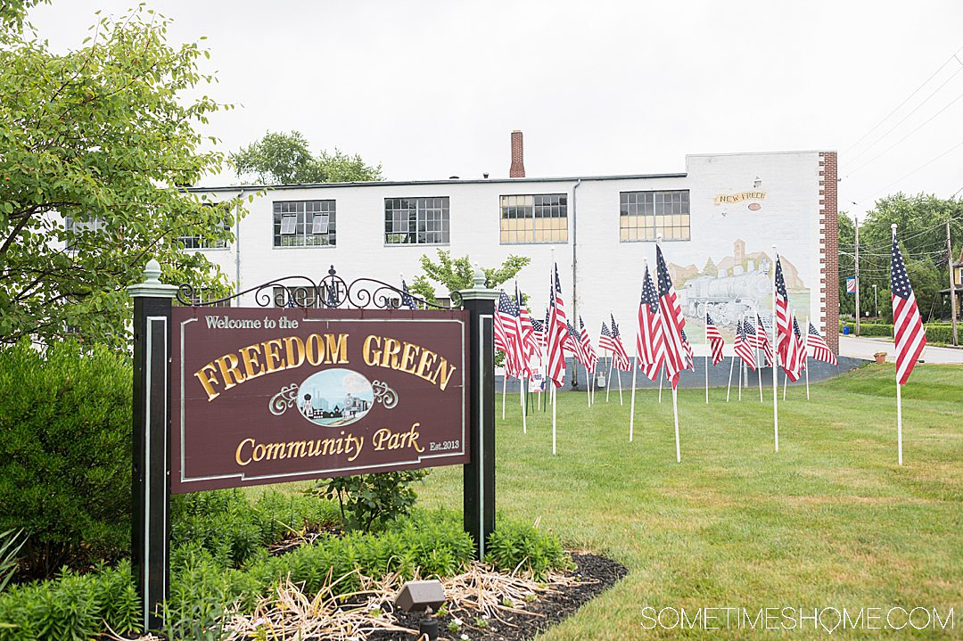 Freedom Green garden with American Flags in the grass in Pennsylvania