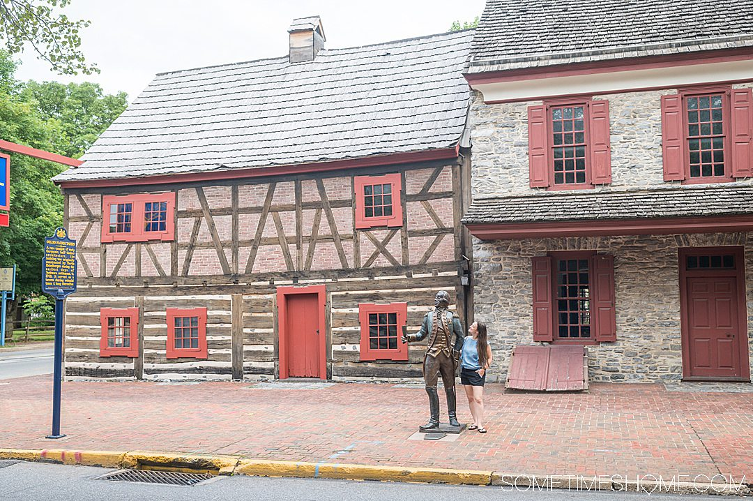 Colonial building and statue of Marquis de Lafayette in York, PA