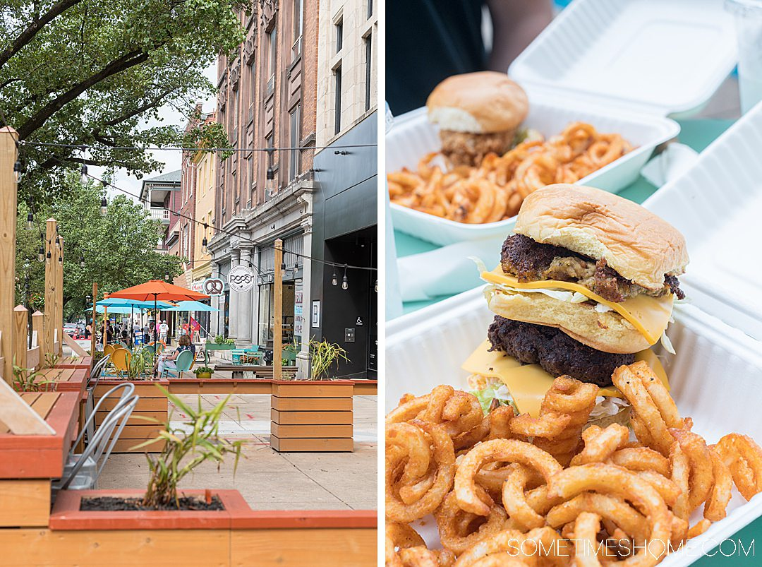 An outdoor patio and curly fries and sandwiches