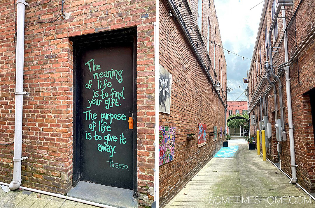 Door with a Picasso quote and art alley