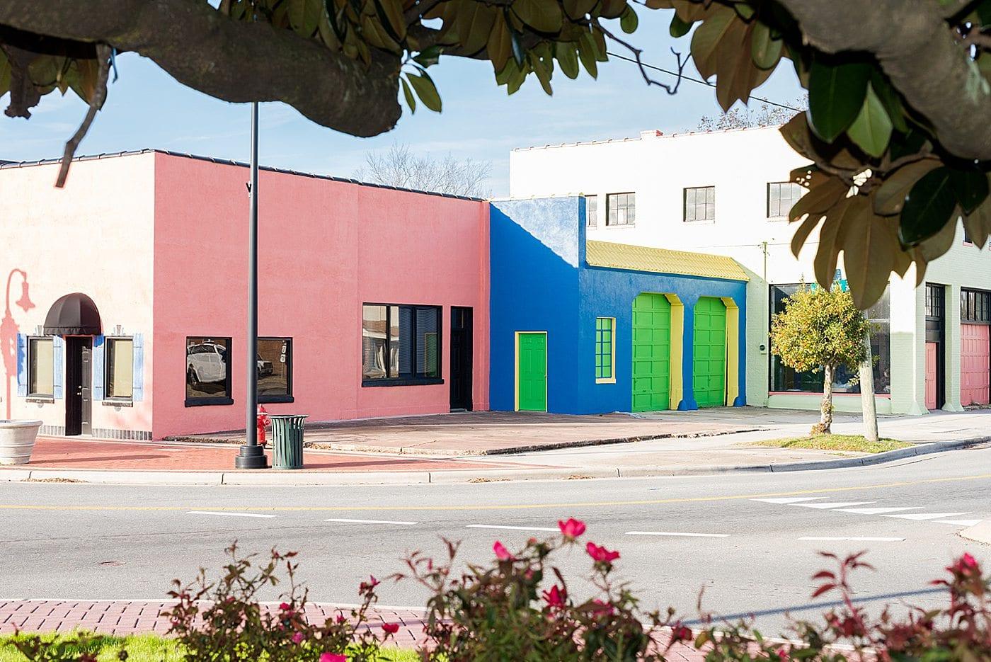 Colorful block of buildings in Goldsboro, NC