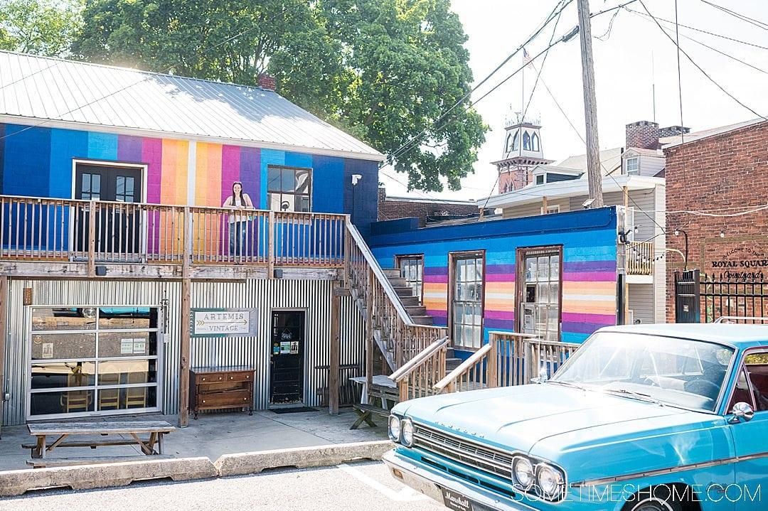 Colorful striped mural