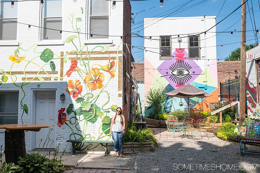 Colorful murals in a courtyard in York, Pennsylvania