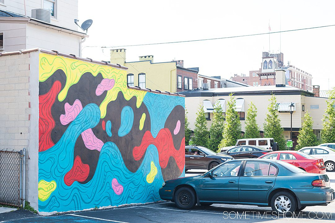 Blue, pink, red, green and black mural in York, PA