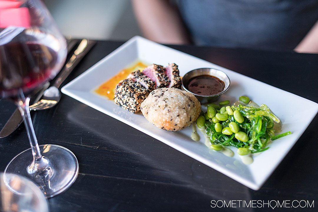 Ahi tuna dish with edamame and seaweed salad at The Handsome Cab in downtown York, PA