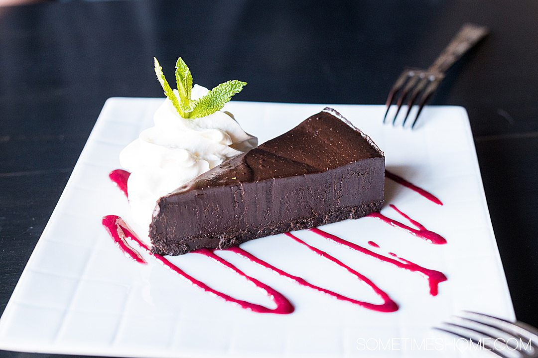A piece of flourless chocolate cake at The Handsome Cab in York, PA