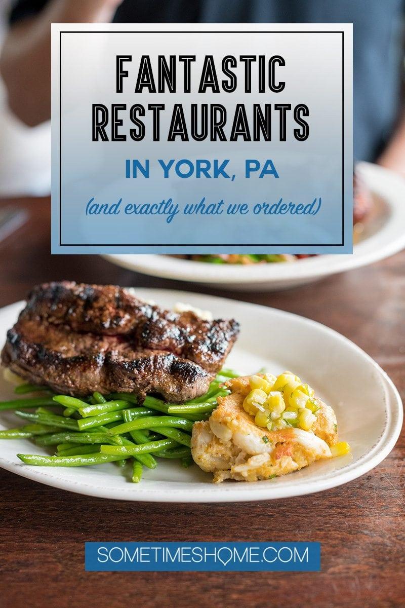 York PA Restaurants steak dish and Pinterest graphic