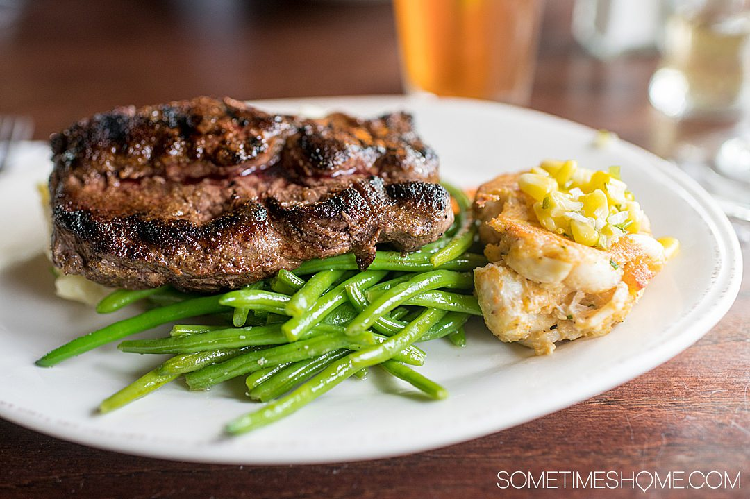 steak dinner with a crab cake