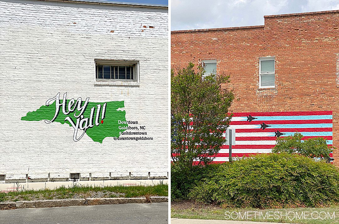 Flag mural and state outline mural in Goldsboro, NC