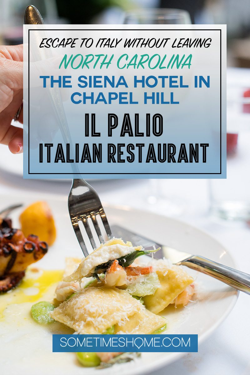 Pinterest graphic of a fork eating pasta for a post about Il Palio Italian restaurant in Chapel Hill, NC.